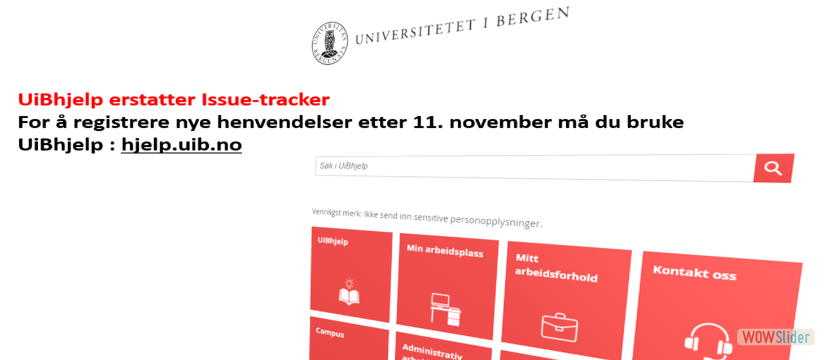 UiBhjelp erstatter Issue-tracker